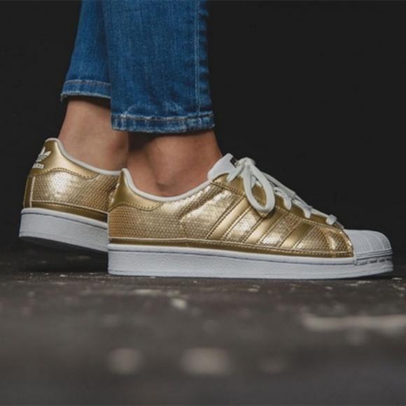 adidas superstar gold glitter